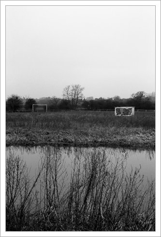 Football pitch on the other side of the river