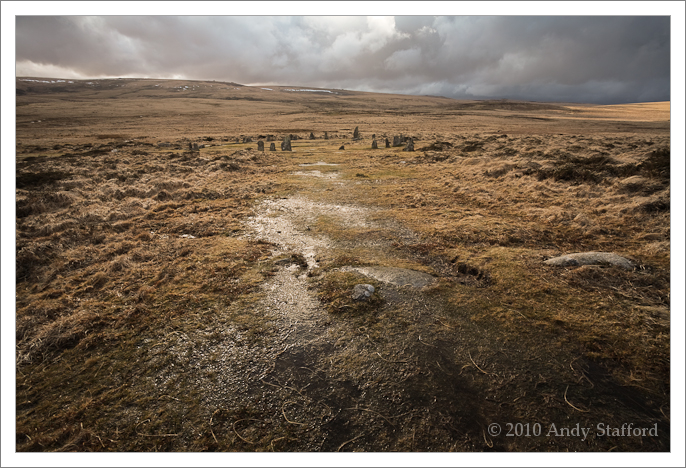 Wet and windy descent to Scorhill Stone Circle, Dartmoor
