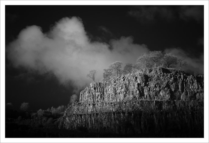 An Infrared image of sunlight on the cliff face of Middle Peak Quarry