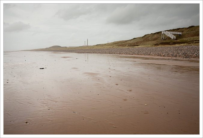 Empty Beach with Sellafield in the distance, Seascale, Cumbria