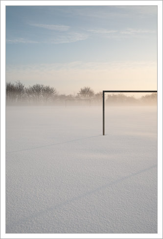 Goalposts in fresh snow