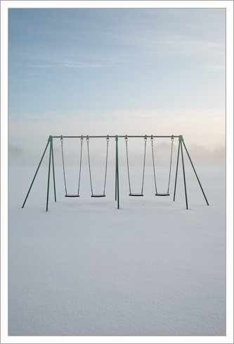 Swings in fresh snow