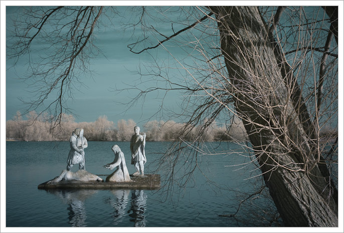 An infrared image of the statues on King Lear's Lake, Watermead Park